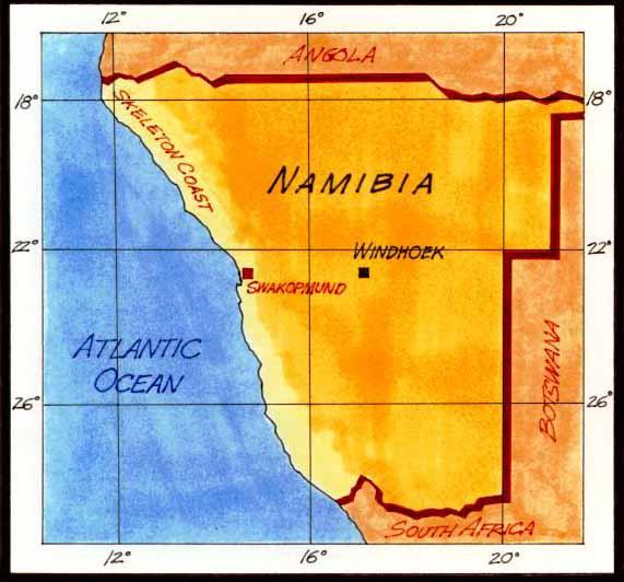 dengan 3 negara iaitu Namibia , Angola dan Afrika Selatan